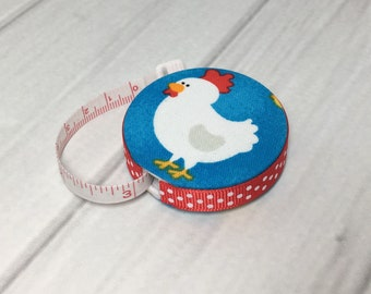 Chickens (A) Fabric Covered Retractable Tape Measure
