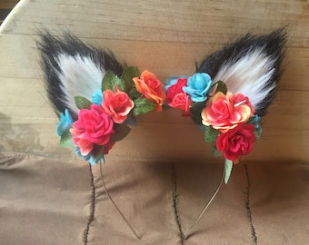 Black Furry Wolf Ear Flower Crown Headband