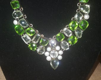 Genuine Peridot and Pearl necklace
