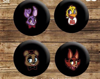 Five Nights at Freddy's Button Badge Set (4x 25mm - 1 inch) - FNAF