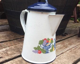 Enamel Coffee Tea Pot Vintage White Enamel