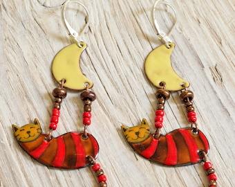 Enamel Earrings, Cat Earrings, Enamel Jewelry, Red, Cat Jewelry, Cat Shaped Earrings, Boho Earrings, Enameled Earrings, Moon, Moon Earrings,