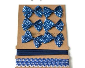 set of 6 bows + 2 meters of Navy Blue Ribbon