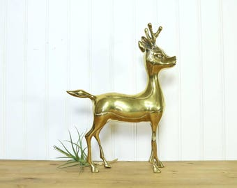 Brass Deer, Vintage Deer Figurine, Statue, Brass Accents, Woodland Decor, Brass Animals, Fairy Tale Theme Friend, Buck, Gifts for Her