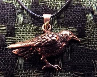 Raven Pendant Crow Handmade Copper Pendant Edgar Allan Poe Jewelry