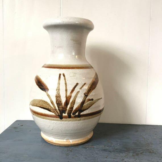 studio pottery vase - handmade flower vase - brown cattails - nature lovers - boho farmhouse decor