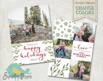 Holiday Card PHOTOSHOP TEMPLATE - Family Christmas Card 164