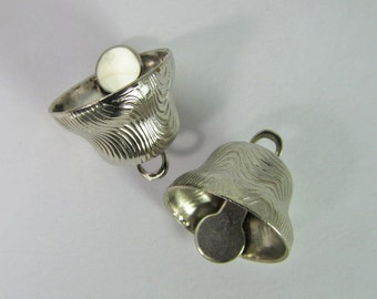 8 Vintage Silver-Colored Bell Charms Pd771
