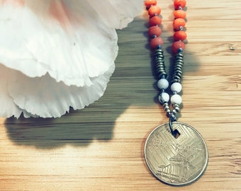 "Coin Necklace; Vintage NYC Subway ""Diamond Jubilee"" Token 11.5"""