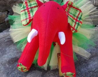 """HOLIDAY Red Plush Elephant - """"Jangle"""""""