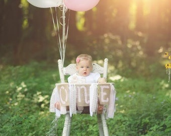 Pink and Ivory Shabby Chic Highchair Banner/ photo prop with Burlap ONE