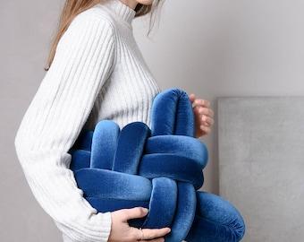 Royal Blue Velvet Knot pillow , Knot Pillows, knot cushions,  velvet modern pillow, nursery decor, velvet cushion, knot throw pillow