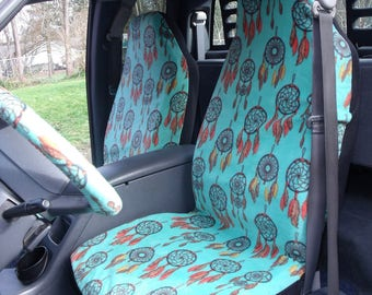1 Set of Green Dream Catcher Print Seat Covers and the  Steering Wheel Cover  Custom Made.