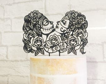 Day of the Dead Cake Topper, Lesbian Wedding Cake Topper, Gay Wedding Cake Topper, Rockabilly, Sugar Skull Wedding, Day of the Dead, LGBT