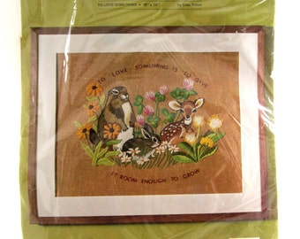 Crewel Embroidery Kit TO LOVE SOMETHING Erica Wilson Columbia Minerva Forest Babies 18 x 14 Sealed in Package c. 1975