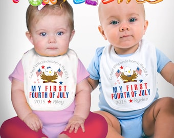 My First Fourth of July Bib - Girls or Boys - Personalized with Name and Year