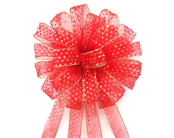 Christmas Bow, Red Bow, Red and Gold Bow, Tree Topper Bow