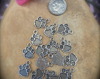 DOG PAW CHARMS-Pewter Paw Charms -12 or 24 Paw Charms-Dogs-Rescue-Wet Kisses-Dog Paw Foot-Antique Silver Finish-Animal Rescue-Dog Lover-Woof