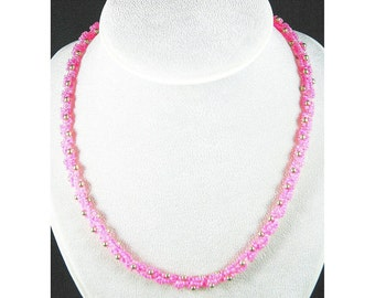 pink and silver spiral cord necklace