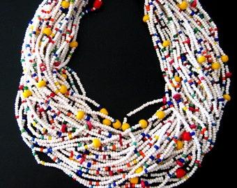 LUXURY VINTAGE RUNWAY Multi Seed Bead Necklace 1960's