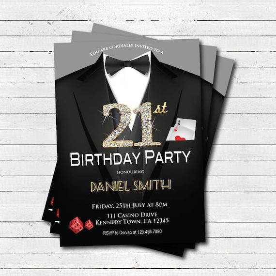 Casino 21st birthday invitation adult man birthday party filmwisefo Images