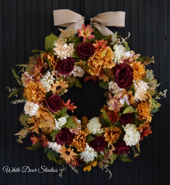 Fall Mixed Floral Front Door Wreath