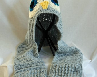Crochet Owl Scarf with Hood and Pockets
