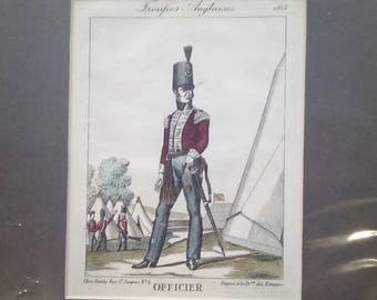 Vintage hand coloured print,Troupes Anglaises Officer 1815