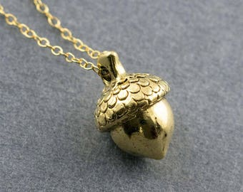 Acorn Necklace, Charm Necklace, Gold Necklace