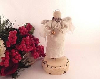 Angel Figurine Christmas Decoration Handcrafted Angelic Statuette Primitive Cottage Shabby Home Decor Angel Collector Gift