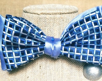 One of a kind fully reversible Cloth Bow Tie (Blue & Silver)