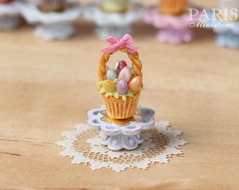 "MTO-Easter ""Showstopper Cupcake (I) - Basket of Coloured Eggs - Miniature Food in 12th Scale"
