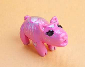 Cute Pink Pig Figurine Totem Sculpture with Silver Hearts & Details