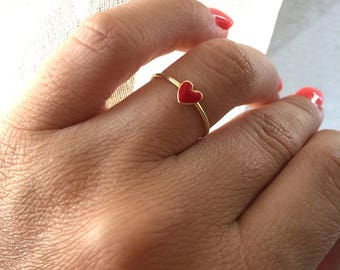 Golden brass ring with mini red heart