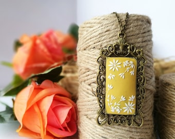 Mustard Yellow Necklace, Yellow Pendant, victorian necklace, hand embroidered, polymer clay, flower, Valentines gift, romantic gift for her