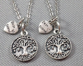 Best friend necklace, tree of life necklace, friendship necklace, sister necklace, gift for friend, friends necklace, friendship jewelry