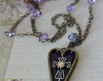 Victoria's Heart Shabby Chic Pendant Necklace