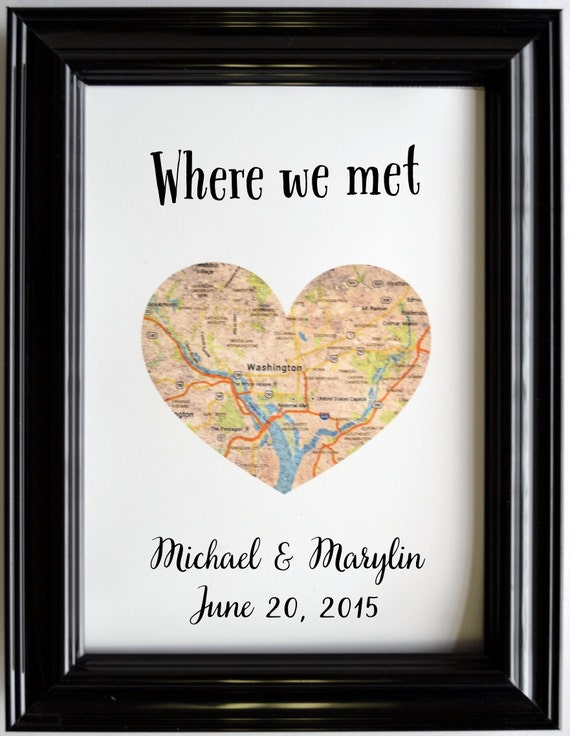 Custom Wedding Anniversary Gift For Couples Personalized Map