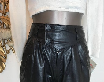 Vintage 80s high waisted leather pants xs/24