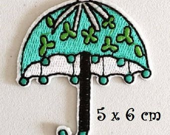 Patch embroidered patch Thermo * 5 x 6 cm * Blue parasol umbrella - Applique iron-on