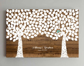 200 Guest Wedding Guest Book Wood Two Double Tree Wedding Guestbook Alternative Guestbook Poster Wedding Guestbook Poster - Wood design