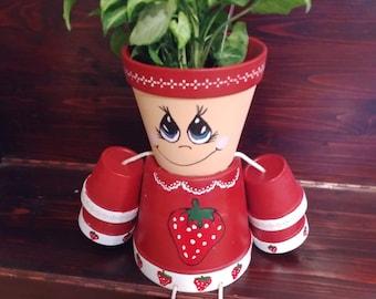 Flower pot, clay pot, terracotta, outdoor decor, interior decor, clay pot, outdoor, strawberry, strawberry plant