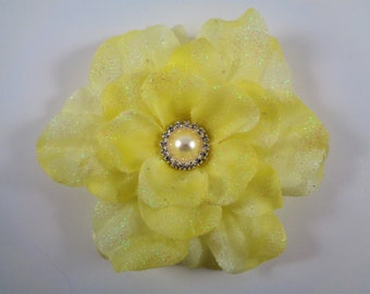 Yellow hair flower etsy yellow flower hair clip mightylinksfo