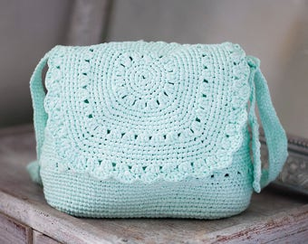 Turquoise Cross Body Bag, Mint Summer Purse, Lightweight Shatle, Eco Friendly Upcycled Handbag, Mint Crochet Tote, Mint Wedding Bag