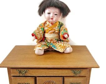 Antique Japanese Gofun Ichimatsu Baby Boy Doll with Glass Eyes and Kimono/ Rare Collectible