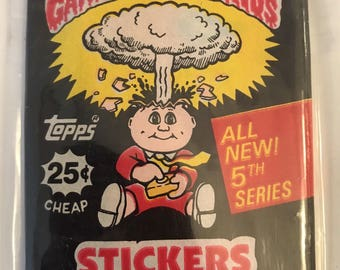 Vtg Package GARBAGE PAIL KIDS Stickers Bubble Gum Topps 5th Series 1986