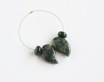 Green Ocean Jasper Drop Beads 4 pcs 20x12mm Top Drilled Forest Green Jungle Green Comma Shape Drops 8mm Bloodstone Rondelles Natural Stone