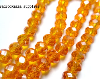 Orange Ab Faceted Crystal Glass Rondelle Bead Strand 8x5mm    -H2A2-1