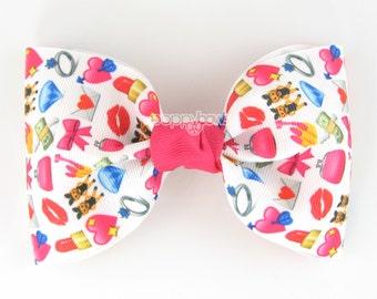 Girls Hair Bow - emoji hair bow - bows for girls - toddler hair bows - hair bows for teens - little girl bows - hair clips - 4 inch bows