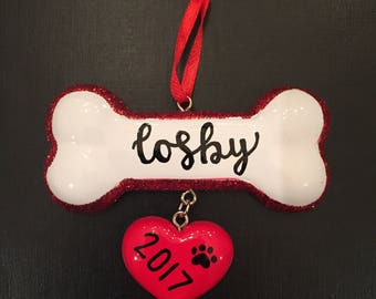 Personalized Bone Ornament with Heart